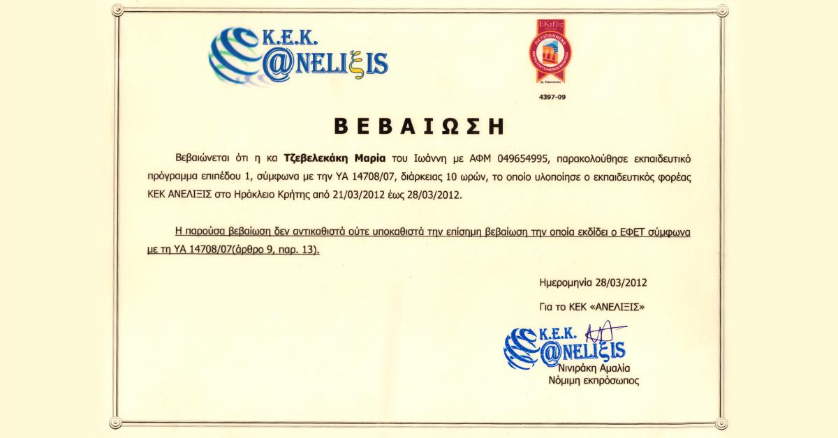 kek aneliksis - vevaiwsh - tzevelekakh - to xamogelo 2012