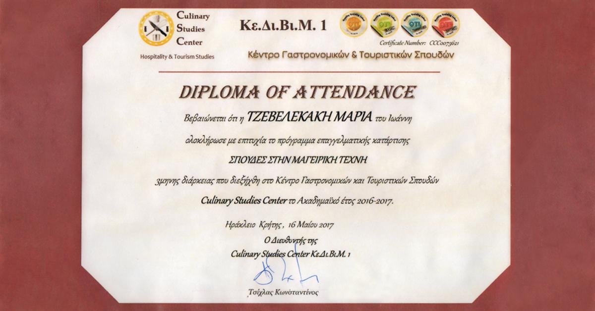 diploma of attendance - mageirikh - tzevelaki 2017